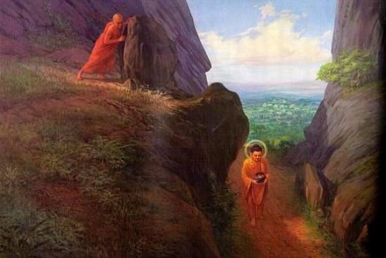 Kinh Phật nói về nhân duyên  Đề-bà-đạt-đa xô đá hại  Đức Phật